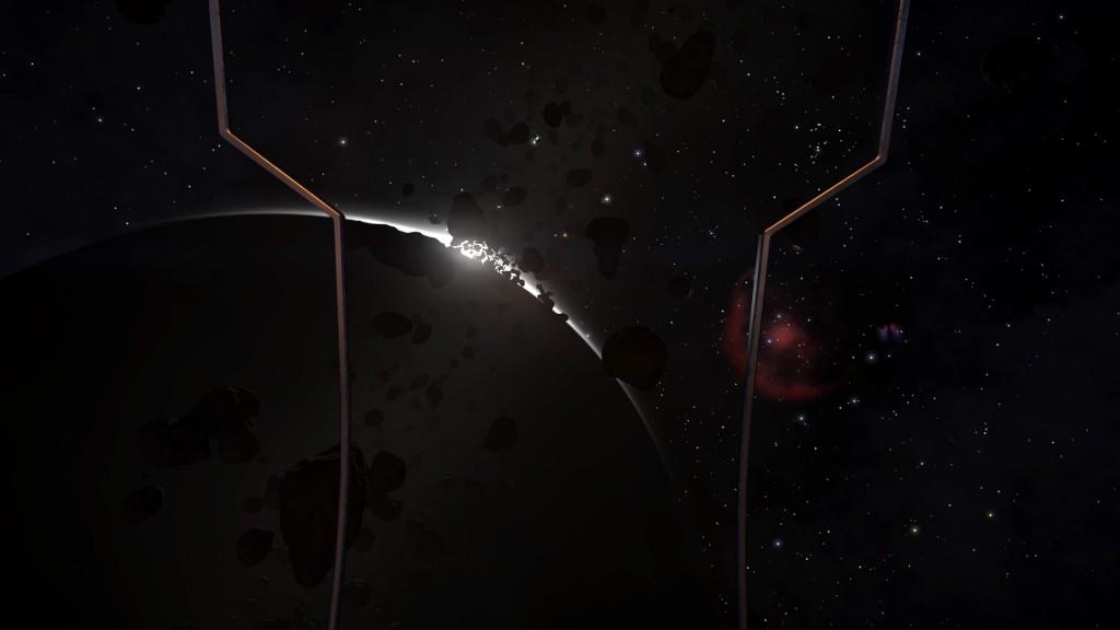 Soleil levant dans un champ d'astéroides
